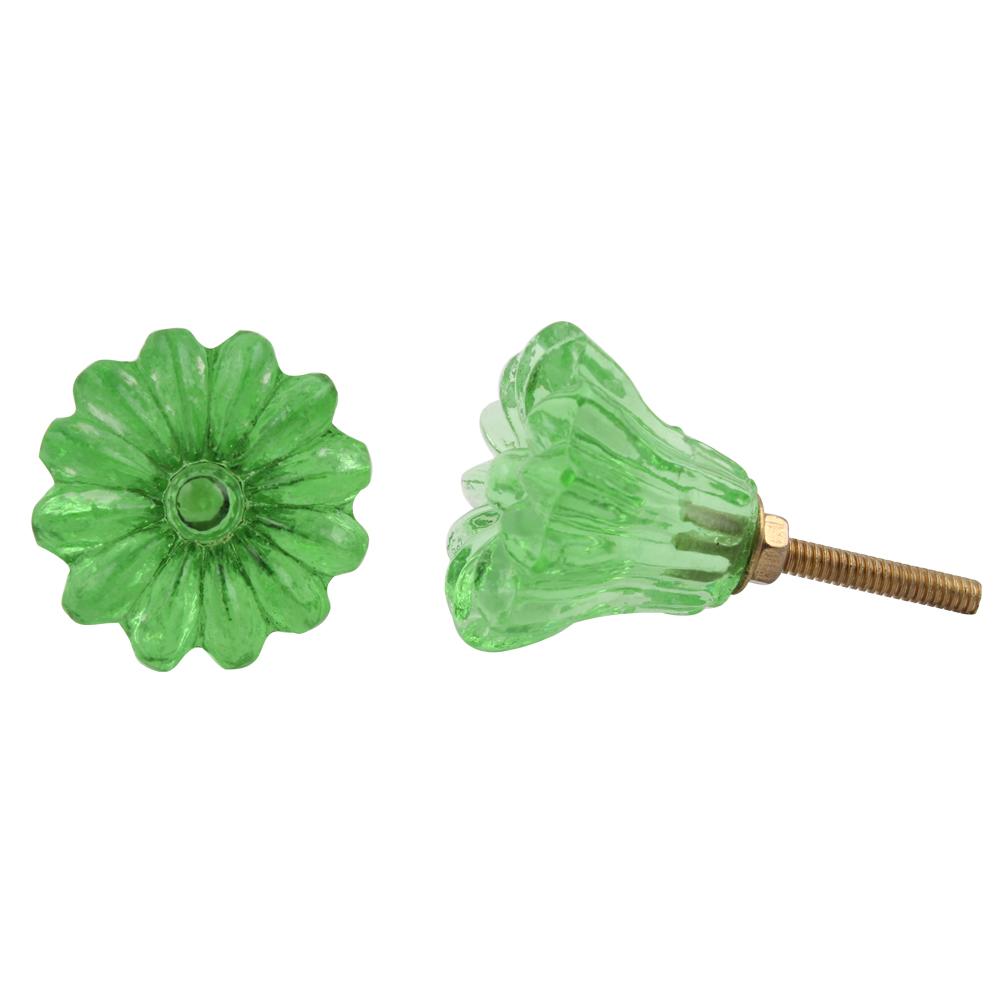 Green Sunflower Glass Knob