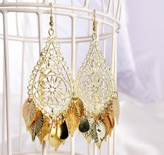 Golden Leaf Drop Designer Earrings