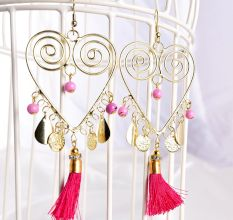 Golden Spiral Heart with Pink Seed Fashion Designer Earrings