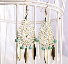 Bohemian Style Green Beads Costume Fashion Earrings
