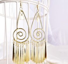 Spiral Hollow Drop Golden Tassel Designer Earrings