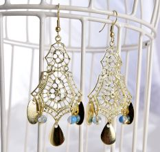 Golden Retro Style Resin Long Earrings Jewellery