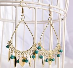 Gold and Blue Bead Fantasy Long Women Earrings