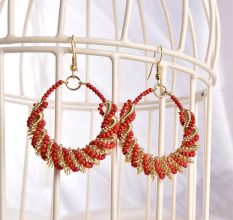 Red Bead Earrings Jewellery in Bali Style