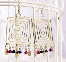 Golden Squared Maze Long Women Designer Earrings