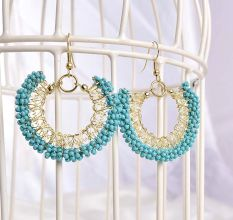 Blue Turquoise Beaded Hoop Antique Earrings