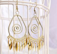 Golden Oval Spiral with Golden Tassels Fashion Earrings