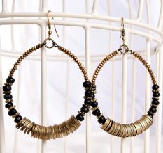Black Beaded Loop in Golden Bali Women Handmade Earrings