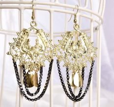 Draped Chain in Golden Chandelier Hanging Women Earrings Jewellery