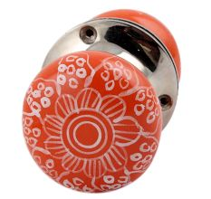 Orange Gerbera Flower Mortice Handle  2.25