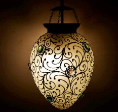 White and Gold Regency style hanging glass light fixture