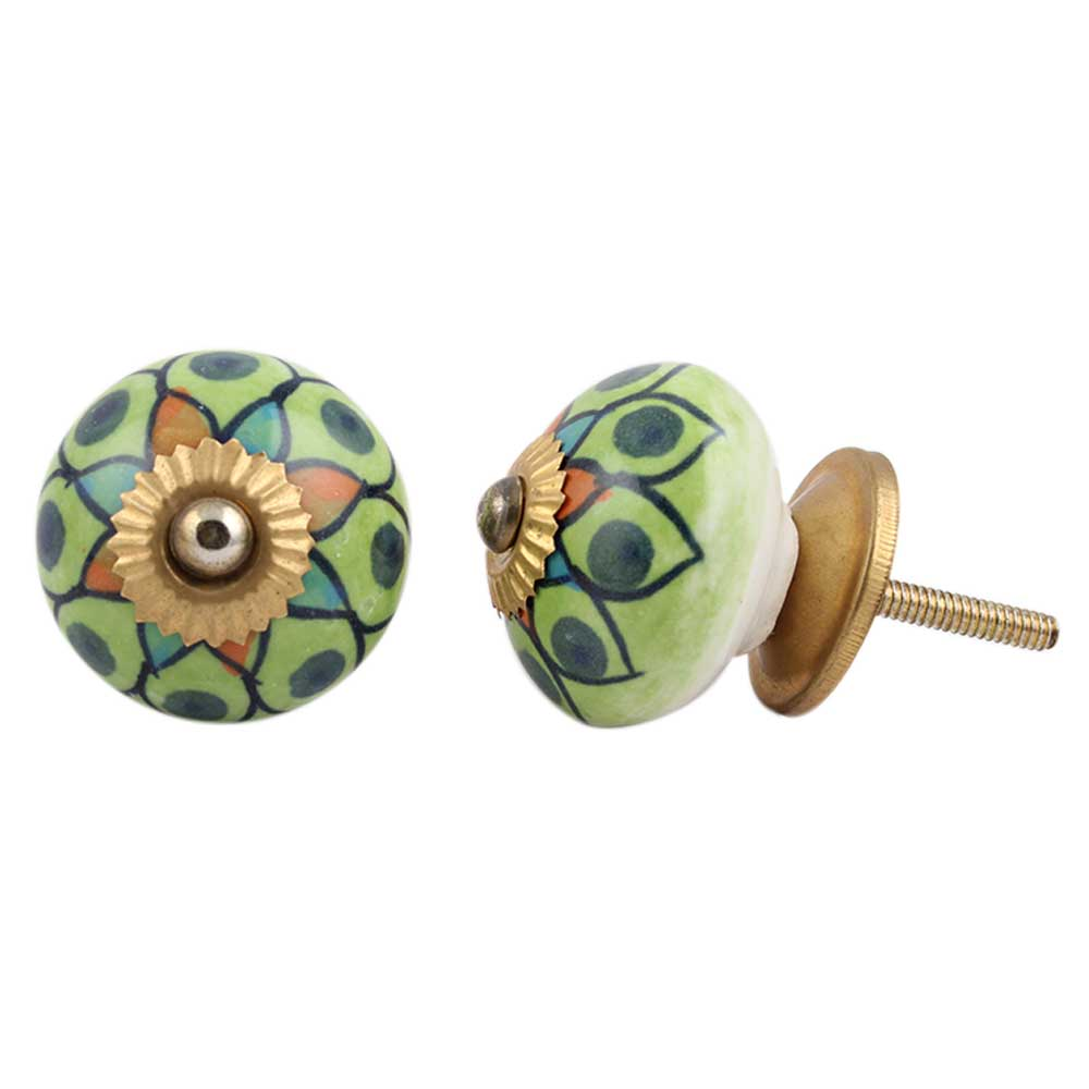 Rangoli Work Ceramic Knob