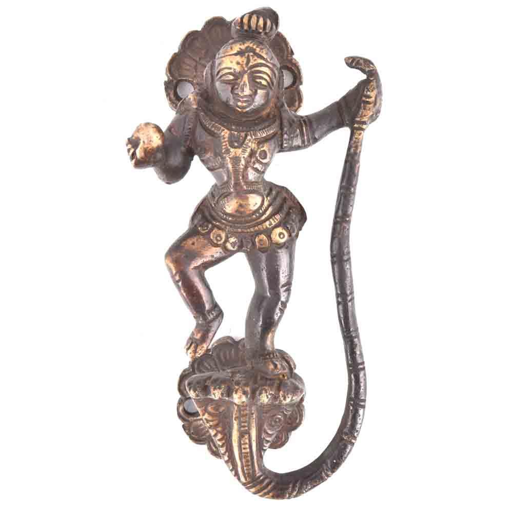 Kaalia Mardan Krishna Bronze Door Handle