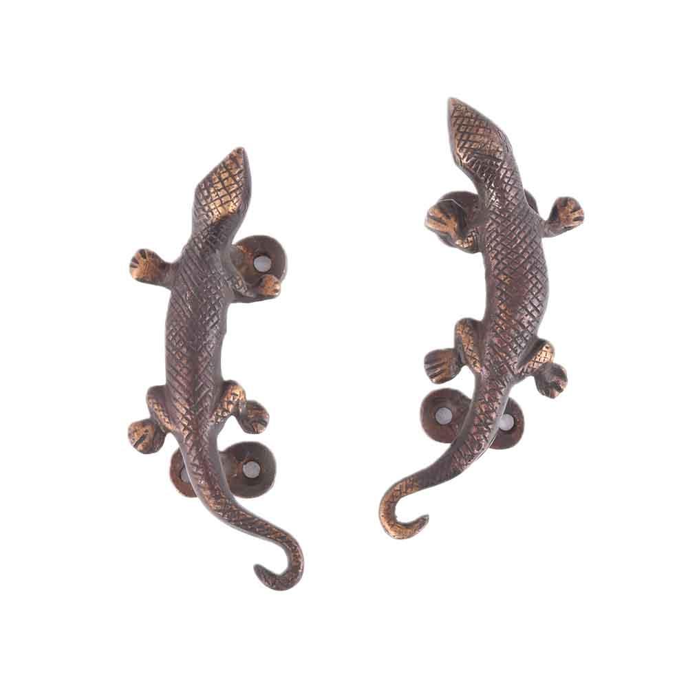 Set of 2 Lizard Figure Black Pair Bronze Door Handle