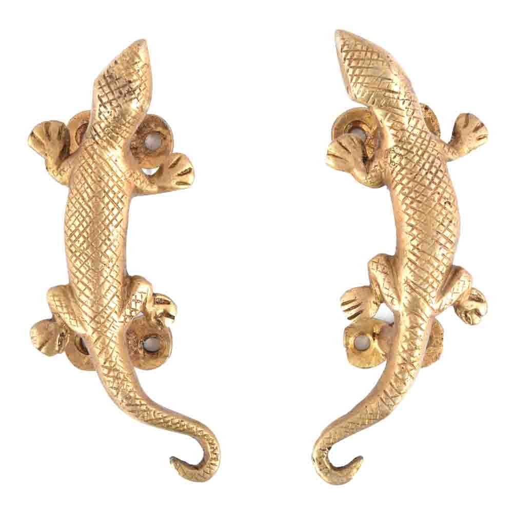 Lizard Golden Brass Door Handle or Drawer Pull