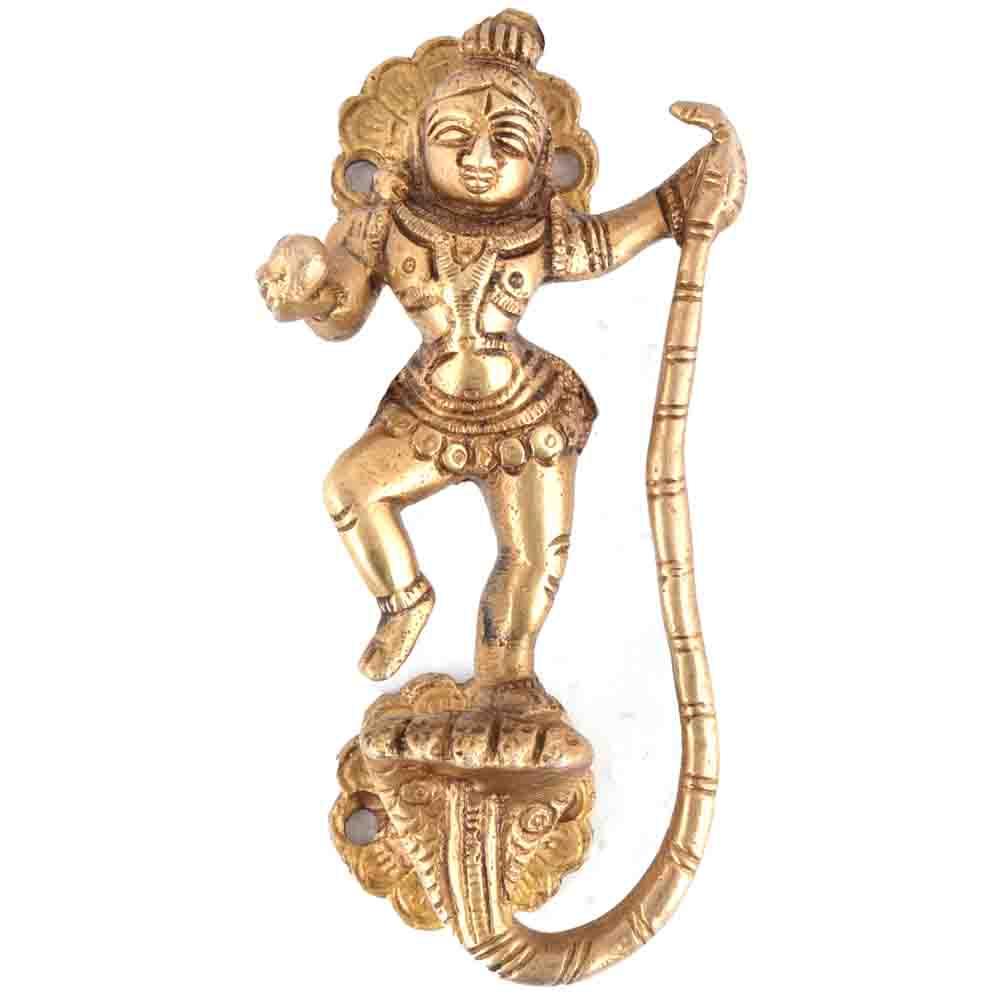 Krishna with Snake Golden Brass Handle