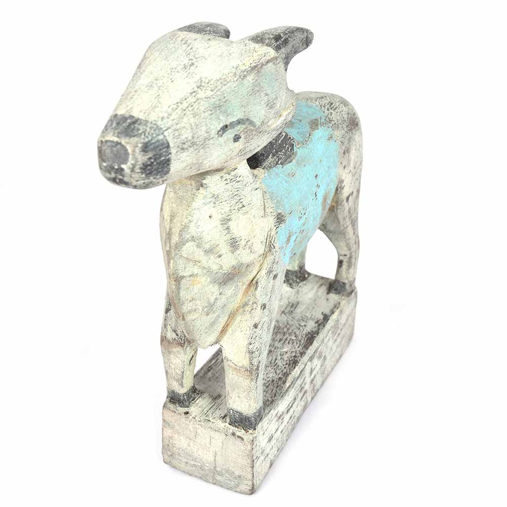 Rustic Wooden Cow Made by Rural Artisans