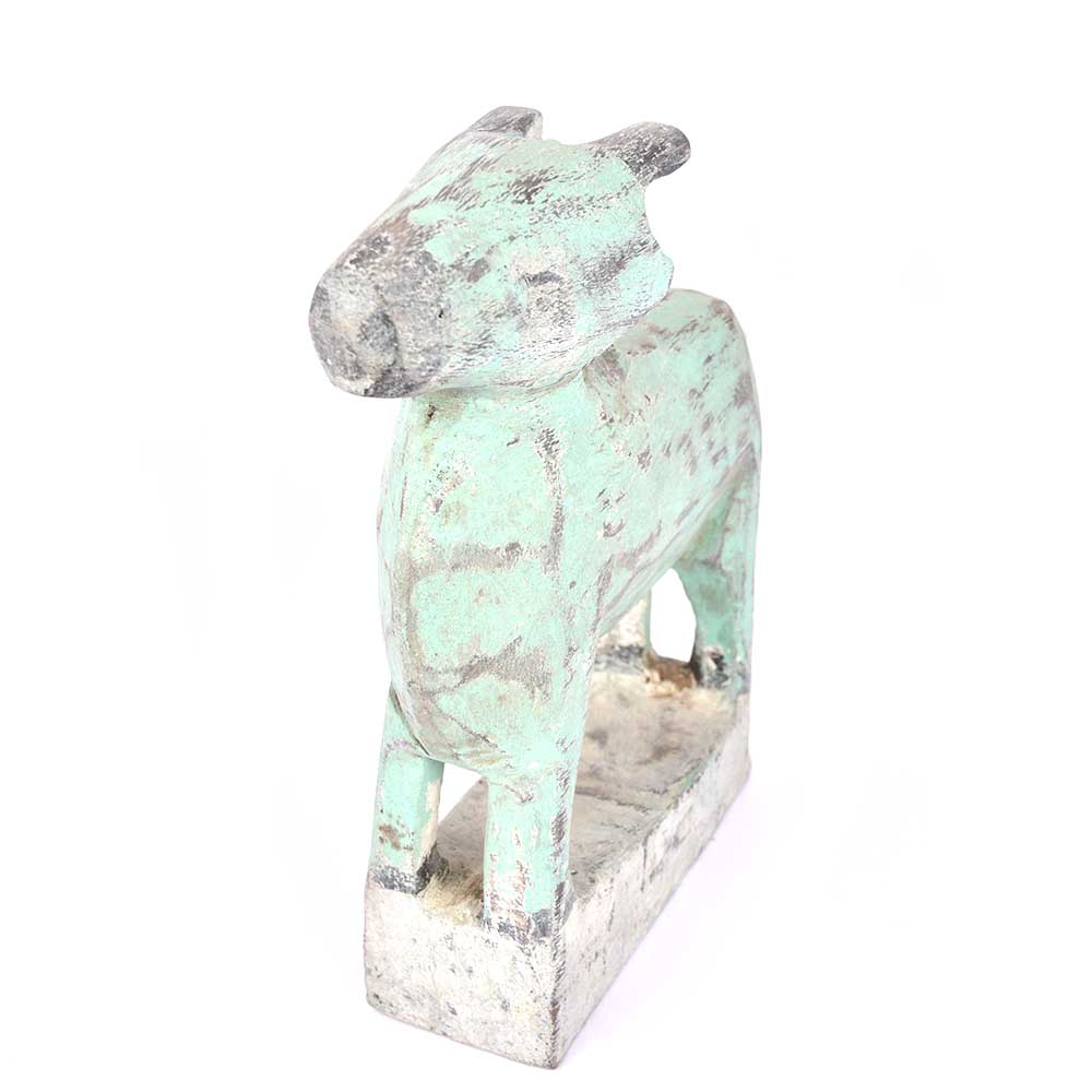 Very Old Tribal Greenish Blue Wooden Cow
