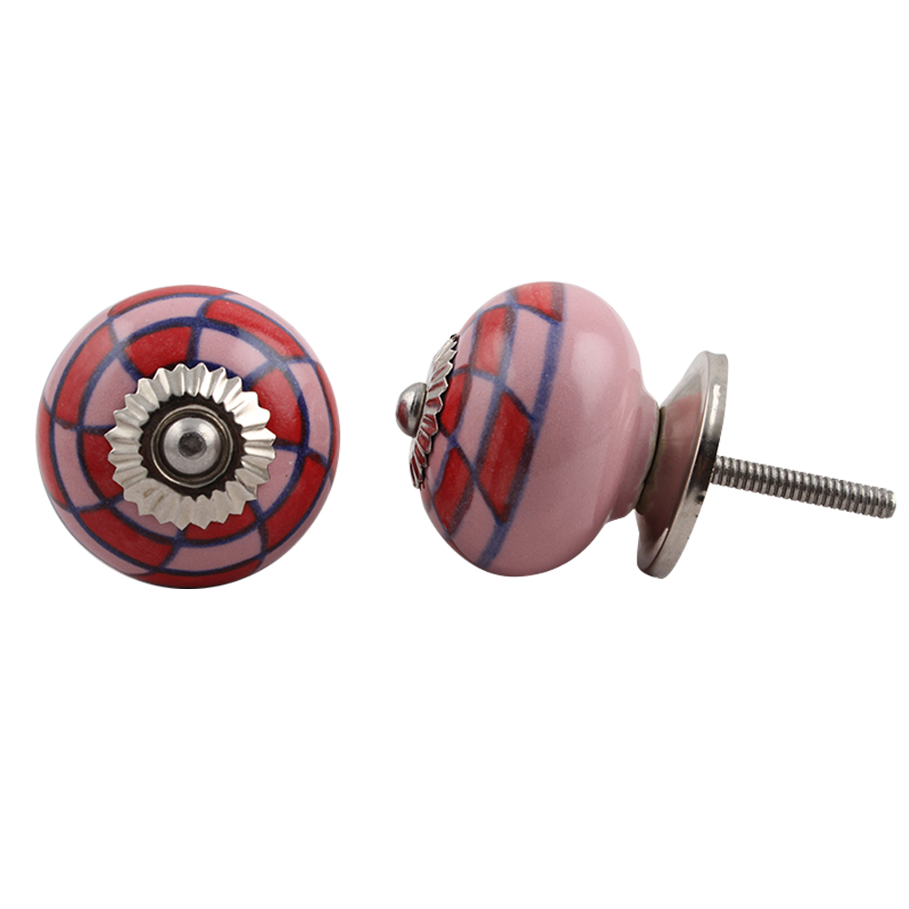 Pink Red Check Knob