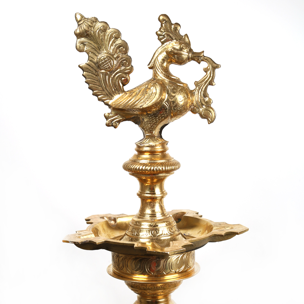 Traditional Brass Deepa Stand with Peacock.