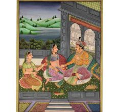 Painting of royal mughal couple of the medieval age 48 X 35