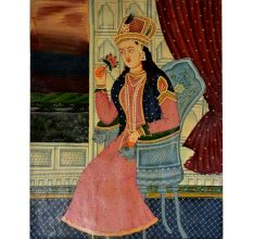 Mughal painting of Mumtaz mahal with a rose 26 X 21