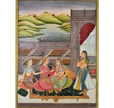 Mughal Harem Indian painting 47.5 X 35.5