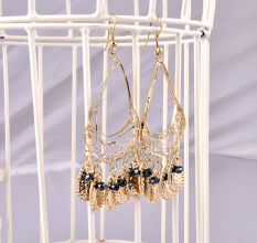 Bohemian Style Chandelier Earrings With Touch Of Midnight Bead.