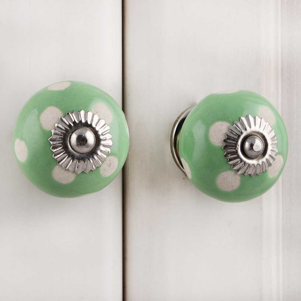 Pea Green Etched Ceramic Knob 35
