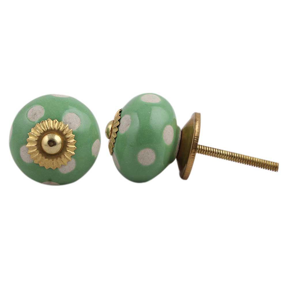 Pea Green Etched Ceramic Knob 35