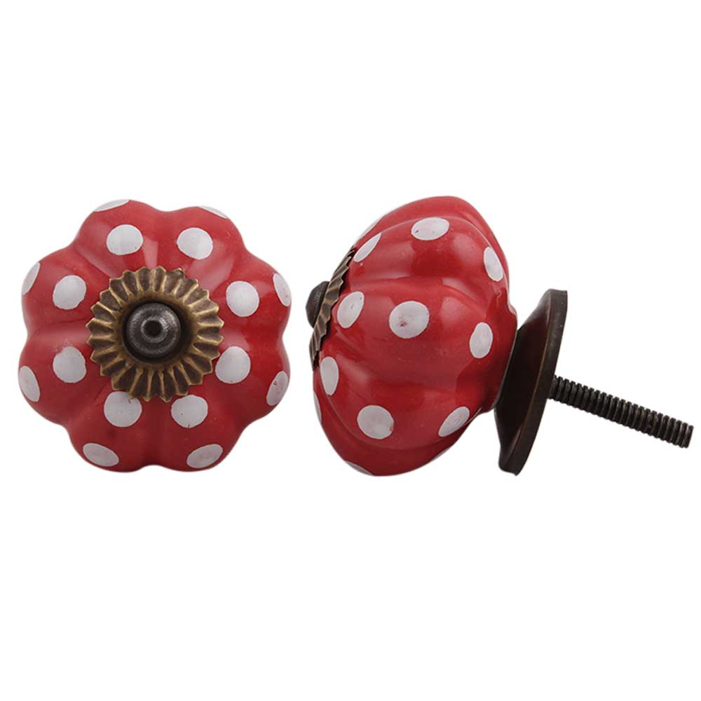 Red White Floral Dot Ceramic Knob