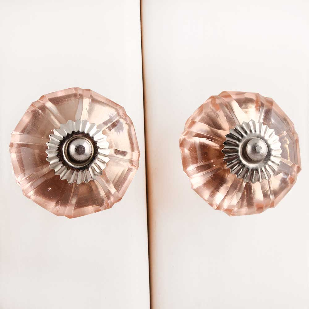 Peach Pink Melon Glass Knob (1)