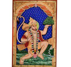 Hanmuan Tanjore Painting With Sanjeevani