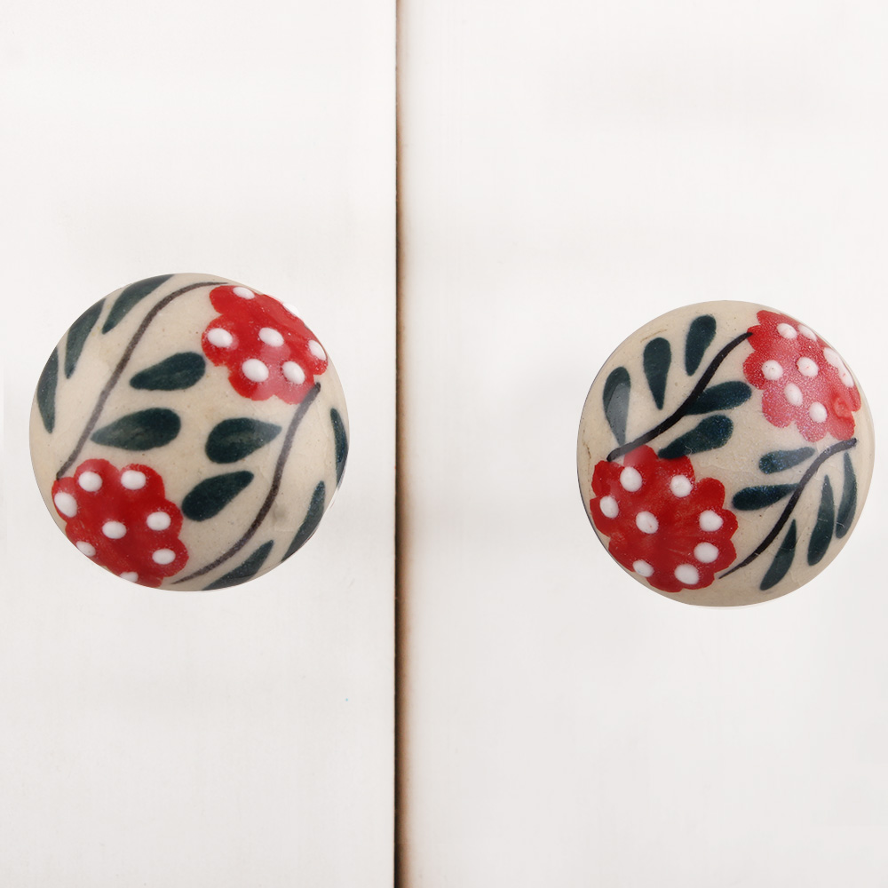 Red Dotted Floral Leafy Ceramic Bulb Knob