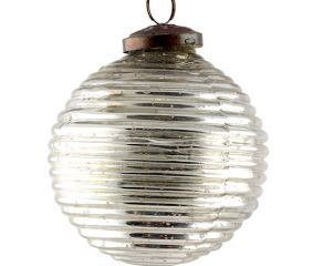 Antique Striped Cut Round Christmas Ornament Online