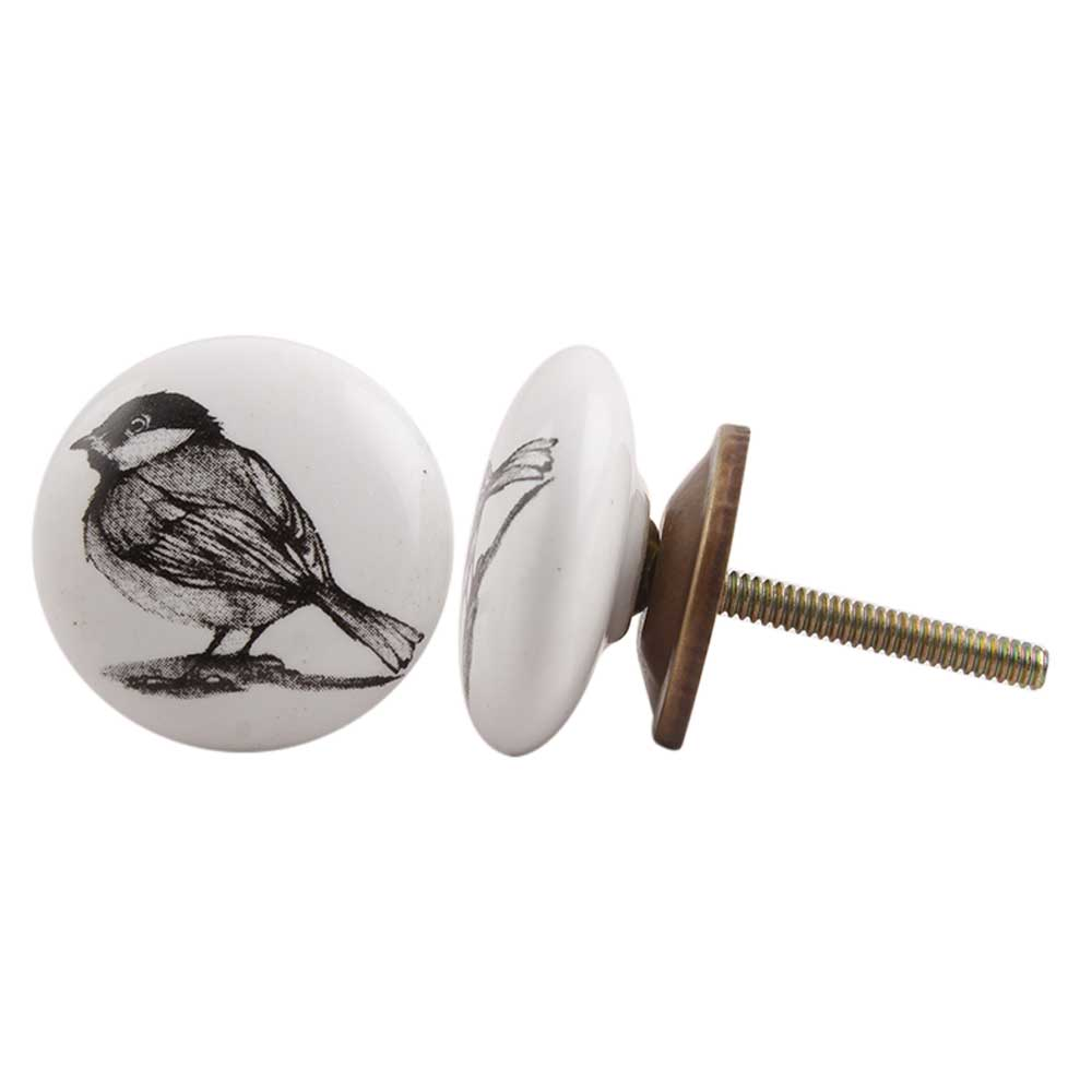 Sparrow Black Bird Flat Ceramic Cabinet Knob