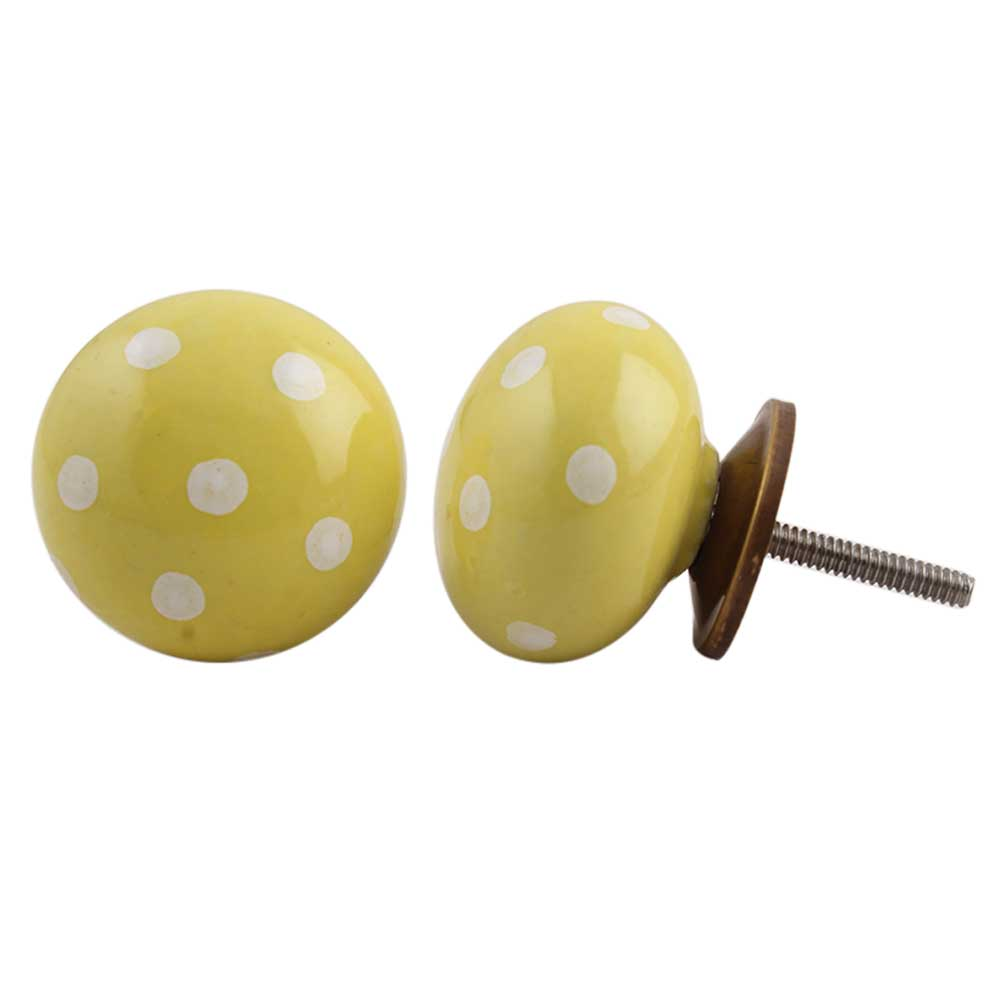 Yellow White Polka Ceramic Dresser Knob