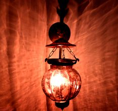 Plum Melon Shaped Glass Lamp