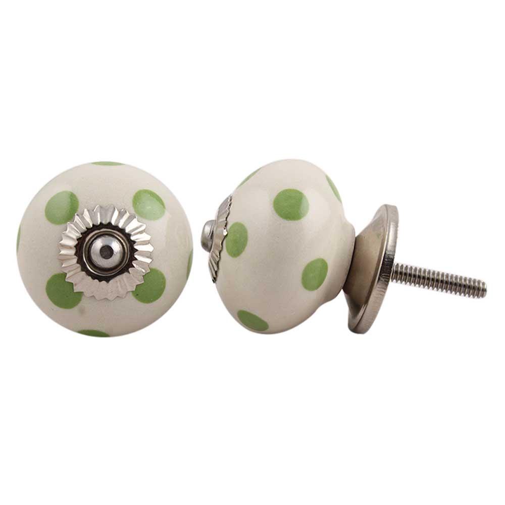 Cream Green Polka Ceramic Drawer Knob