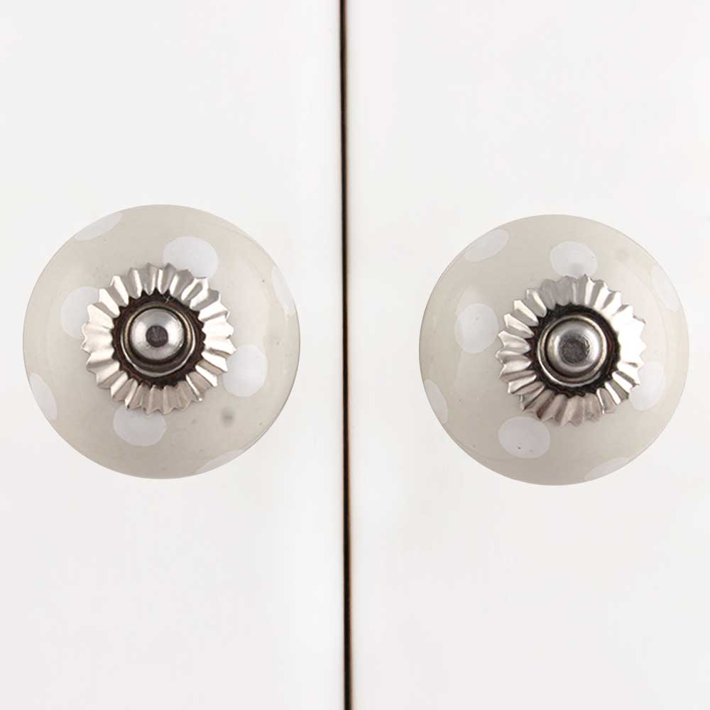 Cream White Polka Ceramic Knob
