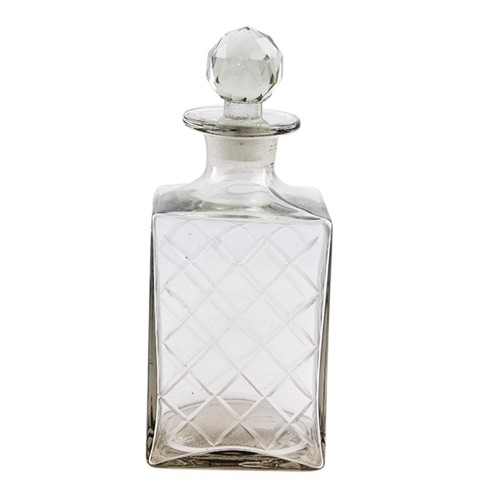 Square Shaped Square Cut Decorative Glass Bottle