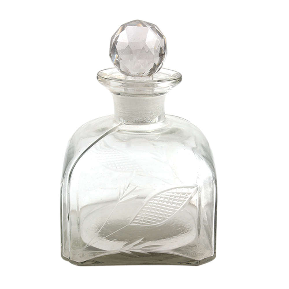 Square Shaped Leaf Decorative Glass Bottle