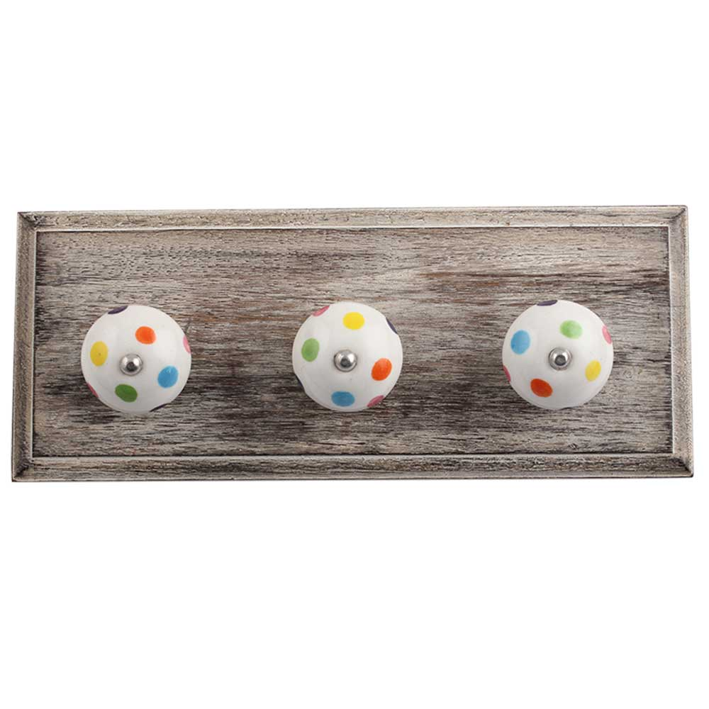 Multi Color Dot Wooden Hooks
