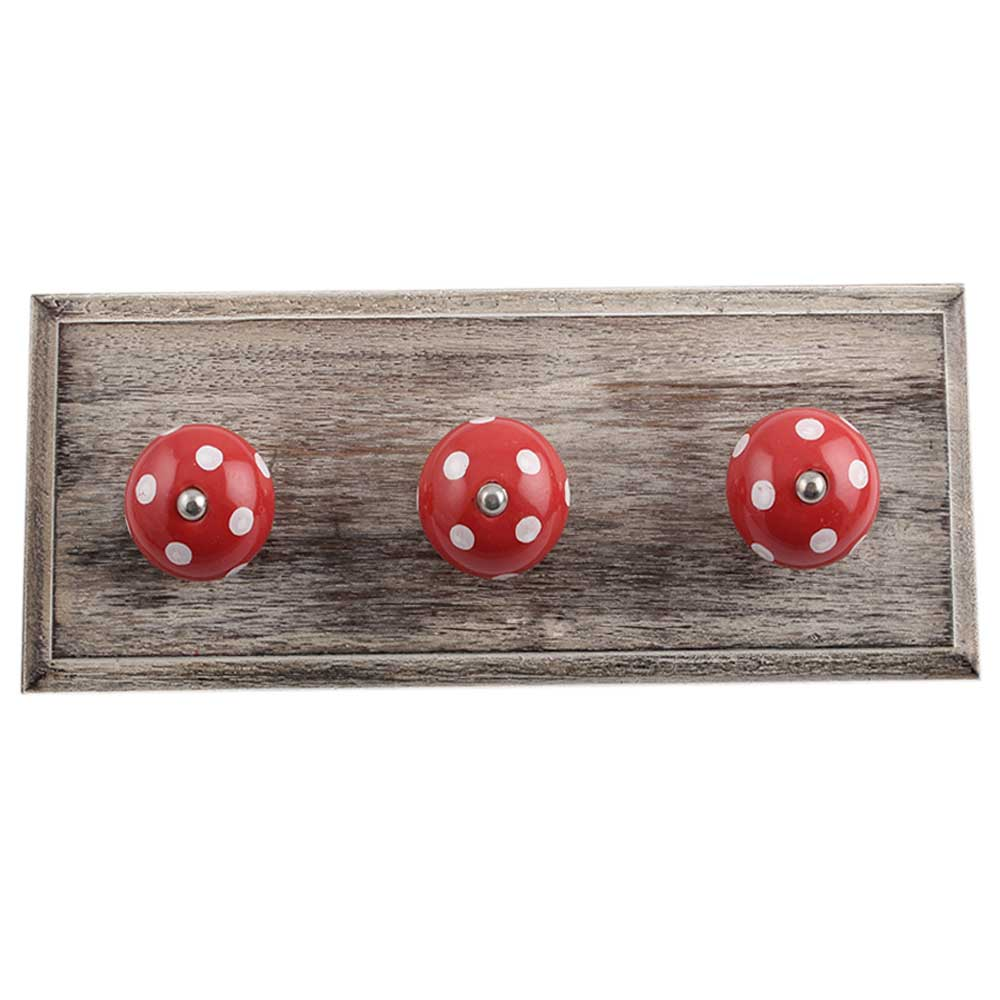 Red White Dot Wooden Hooks