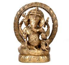Bronze Ganesha Statue with Rat