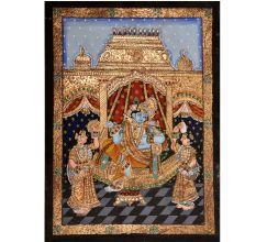 Krishna Gopikas Tanjore Painting