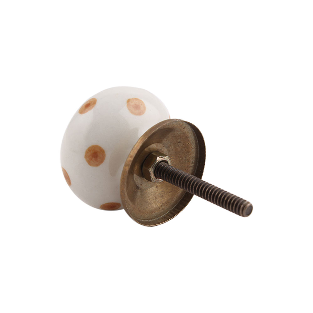 White Camel Dot Ceramic Knob