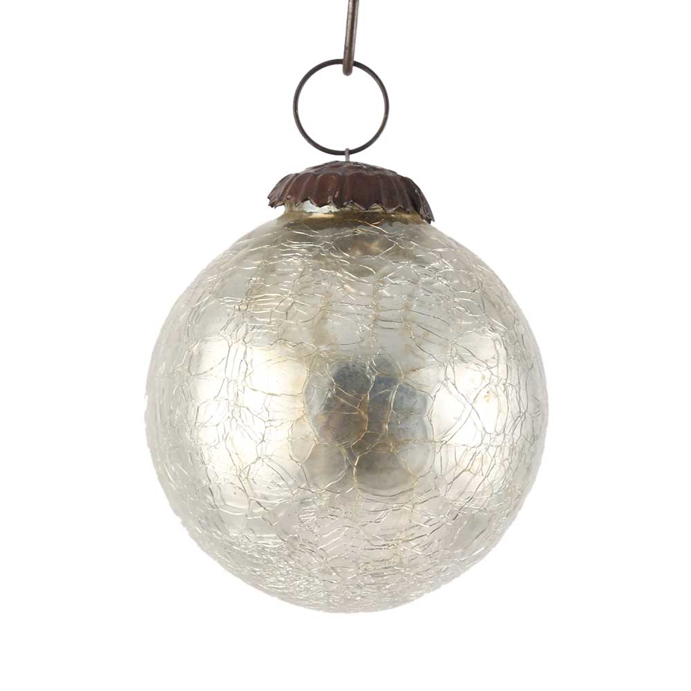 Silver Round Crackle Christmas Hanging Online