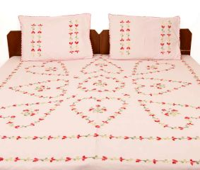 Misty Rose Cotton Double Bedsheet