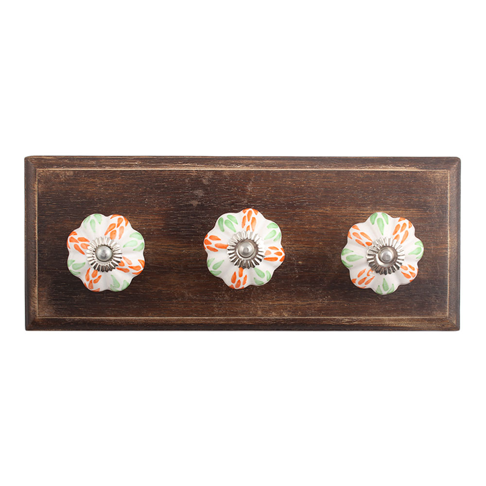 Mixed Leaf Ceramic Wooden Hooks